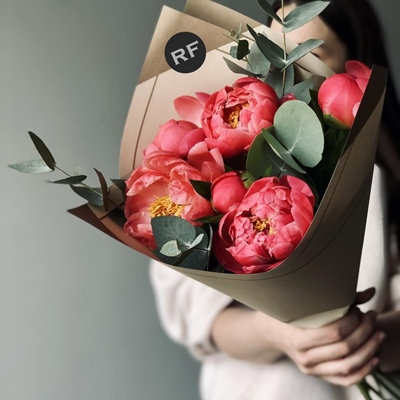Peony bouquets to Moscow Russia
